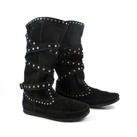 Minnetonka Suede Boots Vintage Black Leather Studded Moccasin Booties  Women's size 8