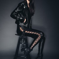 Leather and Lace Faux Leather Laced Up Leggings