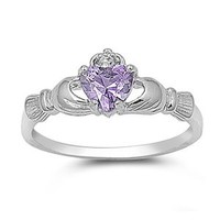 .925 Sterling Silver Rhodium Plated CZ June Color Heart Irish Celtic Claddagh Ring - Size 8