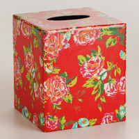 Coral Floral Tissue Box Cover - World Market