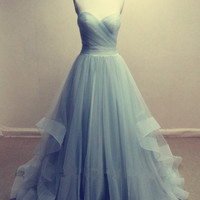blue Prom Dress,long Prom Dress,tulle Prom Dress,sweetheart prom dress,party dress,PD106