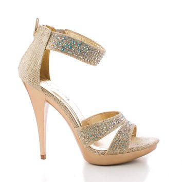 Abyss08 By Styluxe, Shimmering Rhinestone Studded Strappy Stiletto Heel Sandals
