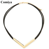 Comiya statement big brand leather V chokers necklaces zinc alloy steampunk necklace for women bisuteria mujer collier femme
