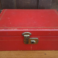 Vintage Red Jewelry Box with Tan Tafetta Lining Great For Jewelry Storage and Display