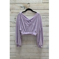 Knit Cropped Top- Lilac