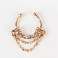 Faux Septum with Rhinestones and Chain