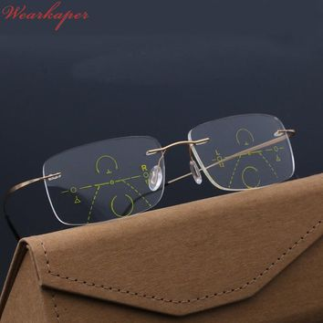 WEARKAPER Smart Progressive Multifocal Photochromic Reading Glasses near and far Multifunction rimless glasses Bifocal Eyewear