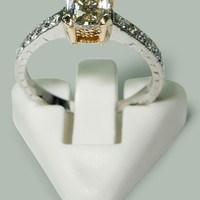 1.60 carat Radiant & round diamonds wedding anniversary ring two tone gold 14K