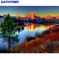 GATYZTORY Frameless Mountain DIY Painting By Numbers Landscape Wall Art Picture Paint By Number Hand Painted For Home Decor Arts