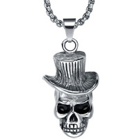 Stainless Steel Gothic Hatted Skull Pendant Necklace