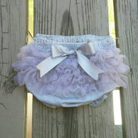 Gray bloomers- gray diaper cover- girls diaper cover- newborn diaper cover- infant bloomers- ruffle diaper cover- chiffon diaper cover