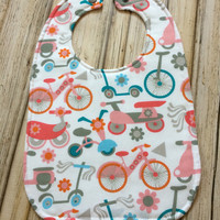 Pink Bikes Baby Bib - One size fits infant-toddler