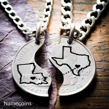 Long distance relationship jewelry, State and city necklaces