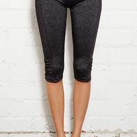 FOREVER 21 Ruched Athletic Capris Charcoal