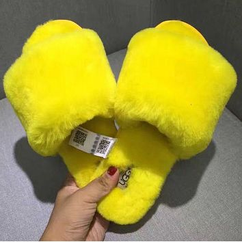 UGG: wool in one word drag Fashion Casual slippers (4 Color) Yellow G