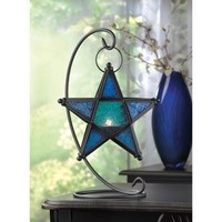 Blue Glass Star Hanging Accent Candle Lantern And Stand