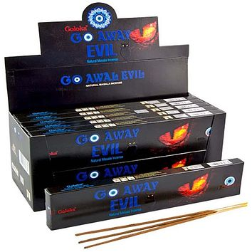 Goloka Go Away Evil Incense - 15 Gram Pack (12 Packs Per Box)