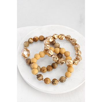 Semi Precious, Wood, metal Bracelet Set