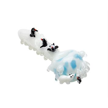 Empire Glassworks Icy Penguins Glass Pipe (Large)