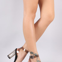 Breckelle Lucite Ankle Strap Perspex Cylindrical-Heel