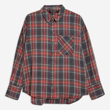 PETITE Washed Tartan Check Shirt - Shirts & Blouses - Clothing