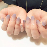 New 24pcs sexy nude purple Gradient color False Nail Art With Glue plain color Fake Nail Tip Finished manicure nail sticker