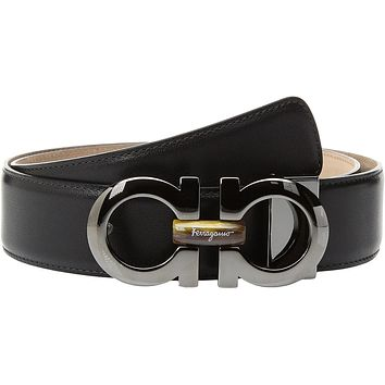 Salvatore Ferragamo Men's Tiger Eye Insert Belt-679751 Black Belt