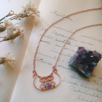 kudelma • hammered copper necklace - viking necklace - finnish jewelry - copper pendant necklace - copper amethyst necklace - witch jewelry