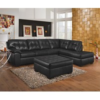 9568 Showtime Onyx Bonded Leather 2 Piece Sectional