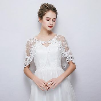 White Sheer Lace Wrap Rhinestone Cover Up