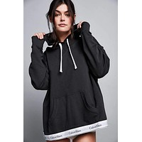 """Calvin Klein"" Women Fashion Hooded Top Pullover Sweater Sweatshirt Hoodie - Black"