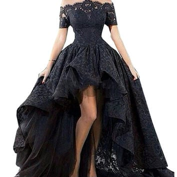 Charming Customized Black Lace Evening Gown Hi Low Sexy Off The Shoulder Boat Neck Prom Party Dress Vestidos Para Festa 2019