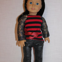 high low lace sleeve shirt, grey leather look jeggings,18 inch doll clothes, American Girl, maplelea