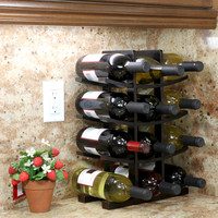 Oceanstar 12-Bottle Dark Espresso Bamboo Wine Rack