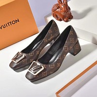New Arrival LV Louis Vuitton Women's Leather Slippers Sandals HEELS COFFEE SHOES WARM WINTER 2020 -   FROM men jersep