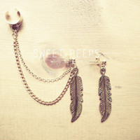 Gold Feather Ear Cuff Set