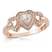 Heart-Shaped Pink Morganite and 1/8 CT. T.W. Diamond Ring in 10K Rose Gold - View All Rings - Zales
