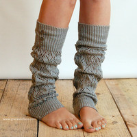 LouLou - light grey: Open-work Leg Warmers with Antique Silver Metal Buttons - legwarmers (item no.9-13)