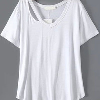 White Cut-Out V-Neckline Short Sleeve T-Shirt