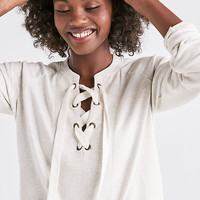 Vintage Lace Up Pullover | Lucky Brand