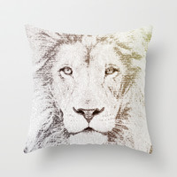 The Intellectual Lion Throw Pillow by Paula Belle Flores
