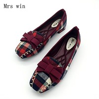 England Style Gingham Women Casual Loafers Spring Autumn Square Toe Bowtie Slip On Flats For Woman Single Shoes