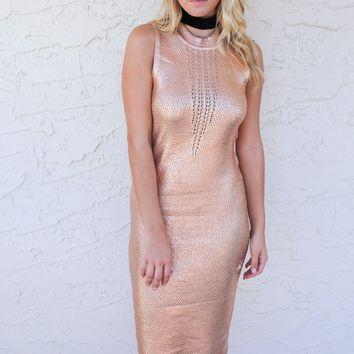 Pink And Gold Shine Bright Metallic Coated Dress