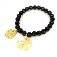 LION KING GOLD-PLATED SIMBA OUTLINE BLACK BEADED BRACELETBY DISNEY COUTURE