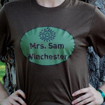 Supernatural Sam Winchester Shirt. Short Sleeved T-Shirt. Mrs. Sam Winchester. Customize To Size And Color.