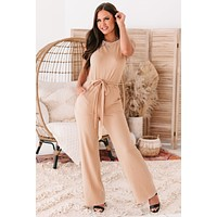 Trudy Ribbed Ruched Shoulder Jumpsuit (Cream)