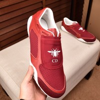 Dior Men Fashion Print Sport Sneakers Shoes Red