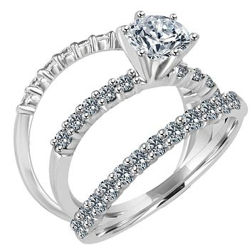 1CT(6.5mm) Intensely Radiant Round Diamond Veneer Cubic Zirconia CZ Wedding/Engagement Ring