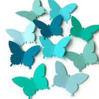 50 Large Aqua, Teal, Green  Butterfly Die Cuts, Butterfly Punch, Paper Butterfly, Butterfly Decorations, Baby Shower Decor