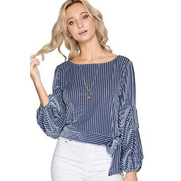 She + Sky Women's Striped Burnout Velvet Long Balloon Sleeve Cropped Top with Waist Tie